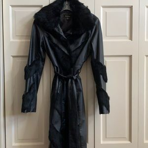 Bebe stunning 3/4 length leather/fur jacket size 2